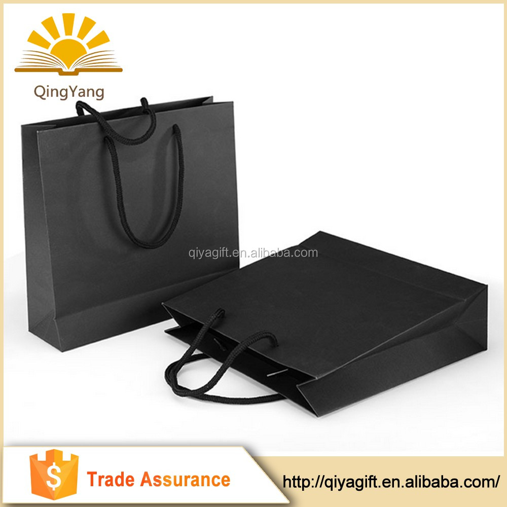 Eco friendly gift packaging handmade matte black paper bags