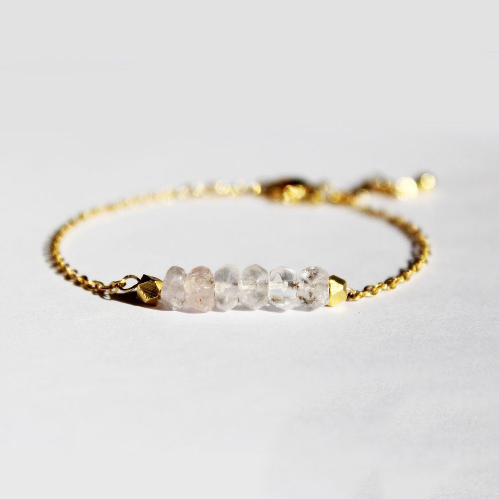 Minimalist Jewelry Rose Quartz Bracelet Gold Bracelet For
