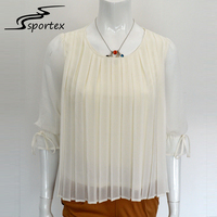 2017 custom white apricot women casual chiffon top 1/2 sleeve round neck pleated fashion blouse design