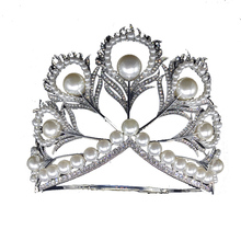 Miss Universe Crown Full Round Crown Pearl Peacock Tiara Pageant