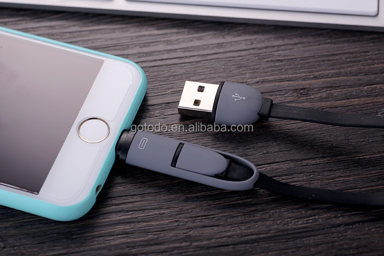 silicon flat 2 in 1 usb mobile phone data cable wire usb charging noodle cable