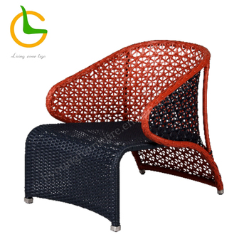 Modern KD rattan wicker armrest outside patio furniture