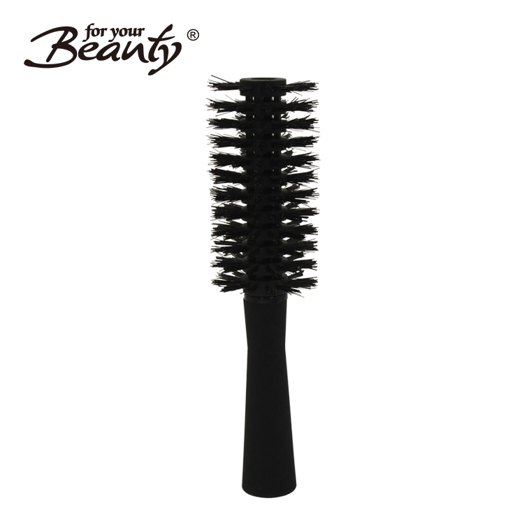 New design multi plastic bristles round hair brush with rubber finish