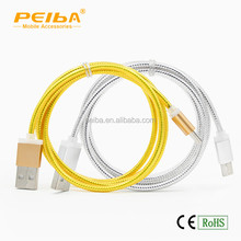 wholesale packaging v8 micro usb data to usb serial cable gold siver color for choice