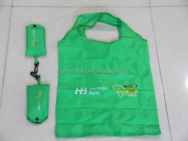 OEM hanging bag reusable polyester foldable shopping bag