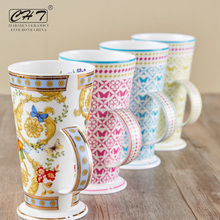 luxury gift wholesale ceramic mugs with beautiful decal