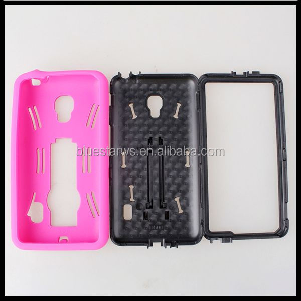 Factory Supply Popular pc silicon for lg optimus f6 d500 stand case for lg f6