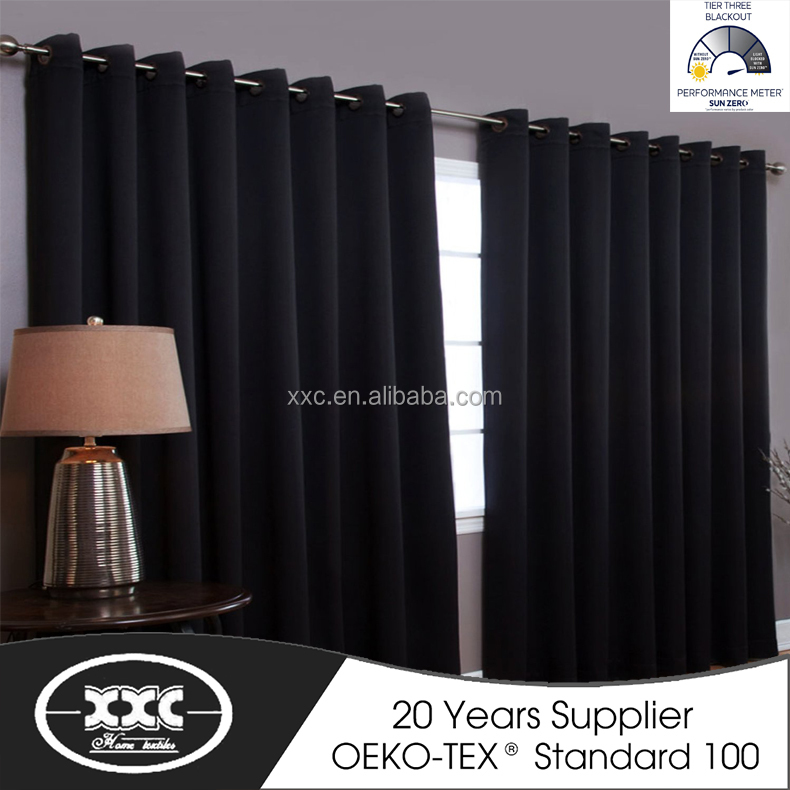 100% Polyester Elegant Soft Touch Hotel or Meeting Room Grommet Curtain, 100% Blackout