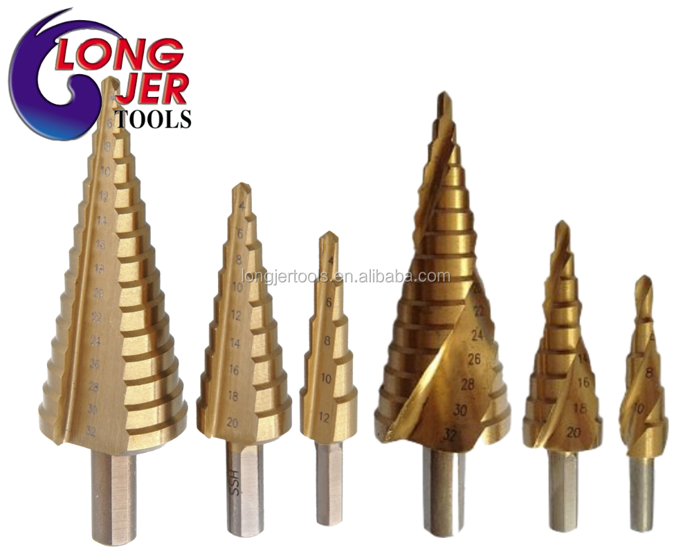 HSS Titan Step Drill Bit Set or HSS Sprial Flute Step Drill For Woodworking Tools