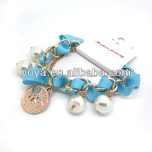 BRH1322 Fashion chunky chain woven bracelet with coin charm
