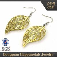 Cheap Prices Fashionable Design Stainless Steel Dubai 24K Gold Plated Earrings Jewelry