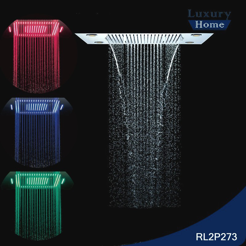Square Temperature recessed ceiling mounted large led shower