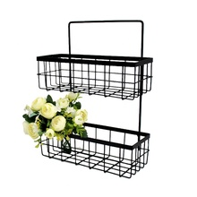 Modern Metal <strong>Decorative</strong> Wrought Iron Shelf Bracket Home Goods Items And <strong>Bathroom</strong> Accessories Storage Basket