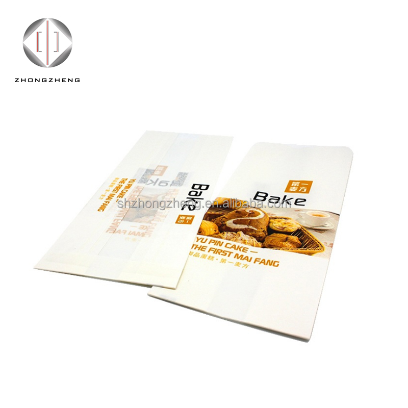 Offset printing brown kraft paper bread bakery Sandwich bag with window