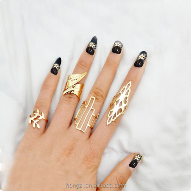 Fashion <strong>rings</strong> Geometric Leaf punk <strong>Rings</strong> Set Boho Hollow Flower Party Mid Finger <strong>Rings</strong> for Women Bijou Jewelry 4 pcs/set
