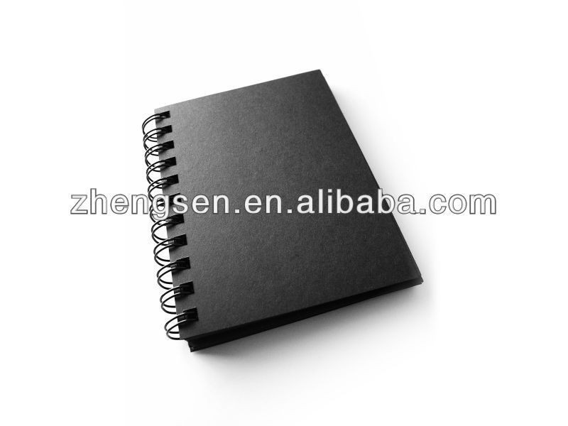 black PP cover notebook with double metal spiral