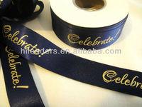 custom polyester printed satin ribbon with logo