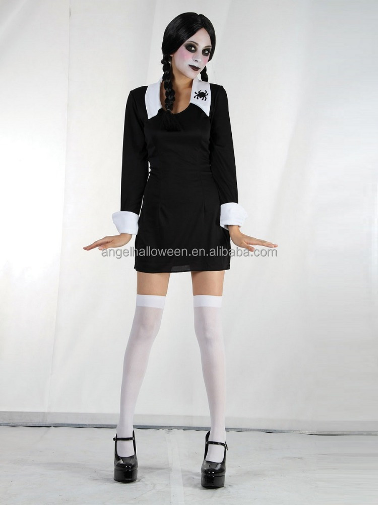 Sexy greepy school girl+wig +stockings ladies fancy dress wednesday addams party costumes AGC3369