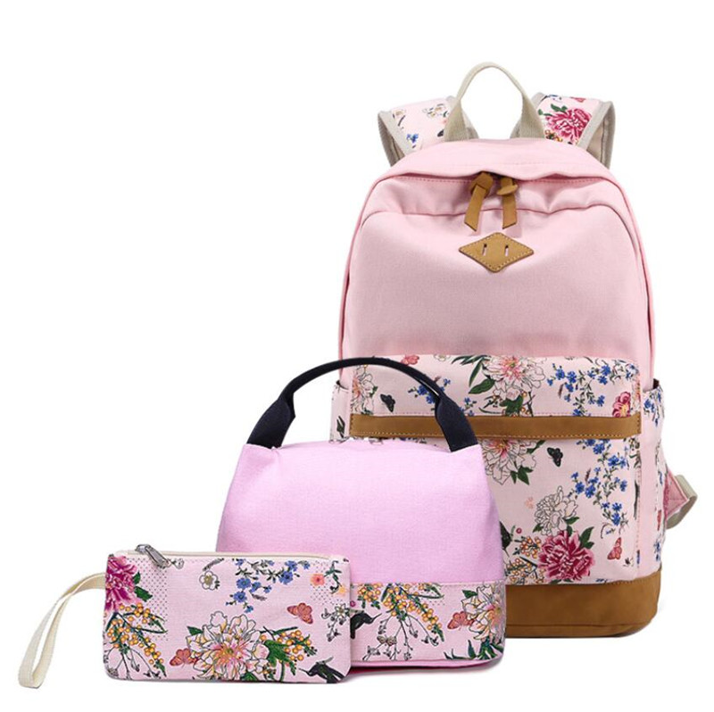 HZAILU 2019 style hight quality 3 pieces canvas girls school backpack <strong>bag</strong> teenage set school <strong>bag</strong> school backpack with lunch <strong>bag</strong>