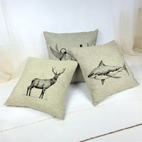 Two Lover Birds shark elk Cushion Covers Linen Cotton Blending Trendy Home Textile 45*45cm Wholesale Price Cheaper