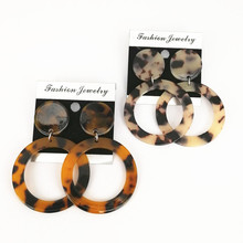 Japanese design leopard rounded Earrings Korean earrings exaggerate acrylic Large Circle marble Earrings