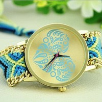 top brand fashion lady watch 2015 most hot selling cheap alloy watch and woven fabric gold watch colorful fashion