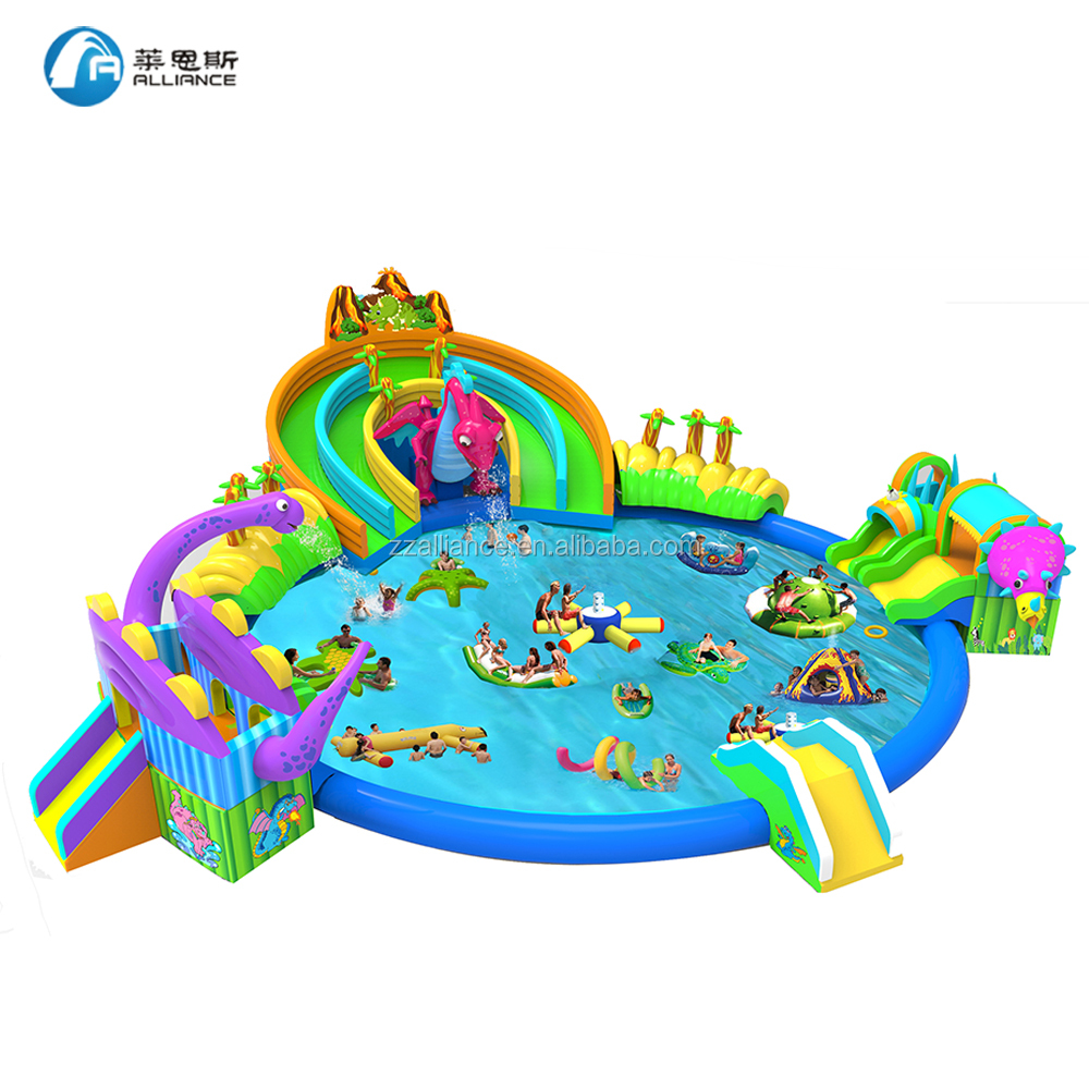 dinosaur kingdom giant inflatable water park <strong>slide</strong> with pool
