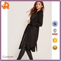 Classical Design 100% Polyester Fabric One piece Black Satin Duster Woman Jacket
