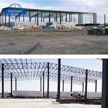 Long span shaped Steel space truss shed prefab building house factory