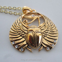 Opened Wings Scarab Horus Eyes Golden Pendant Necklace Egypt Jewelry