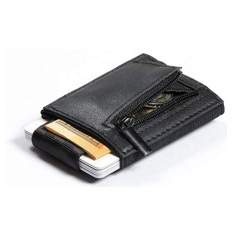 Real leather smart mini card holder men minimalist elastic wallet
