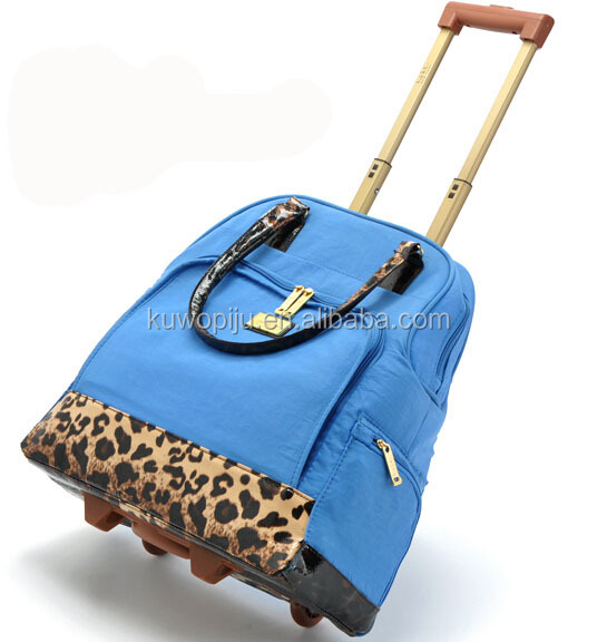 leopard Rolling women wheeled Tote Bag Laptop Case Carry On Luggage Ladies laptop tote trolley bag