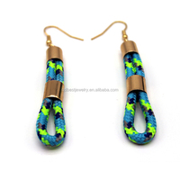 2015 Top sell fabric brass tube fish hoop earring