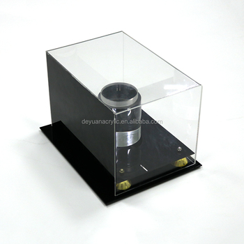 Acrylic Basketball Football Display Box Plexiglass Display Case with Gold Riser