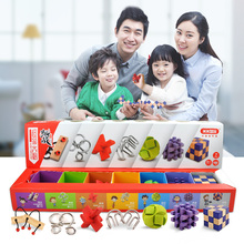 7Pcs Super Brain Teaser Set Metal 3D Puzzle + Wooden Lock for Children Adults Christmas gifts