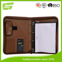Hot selling A4 pu leather zip portfolio with calculator