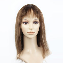8A Grade Hot Selling #8 Colored Human Hair Full Lace Wigs With Hair Bang