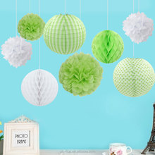 Green White Birthday Party Decoration Set Tissue Tassle garland Paper Honeycomb Ball
