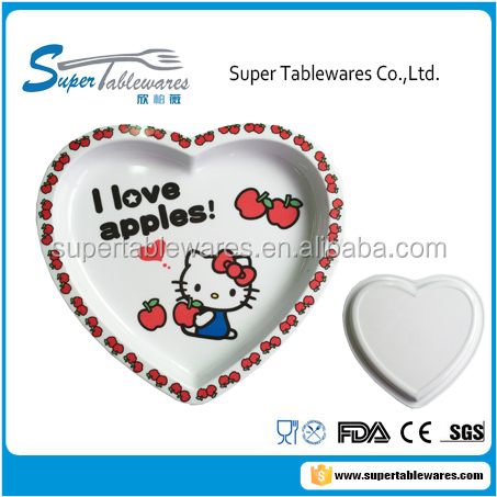 Melamine heart-shaped kid children dinner plate