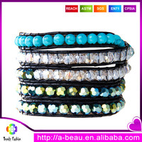 Eco-friendly clay turquoise glass beads leather cord wrap handmade bracelets