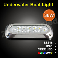 1600LM RGB 36W IP68 LED marine light underwater boat/ship lights red,green, blue