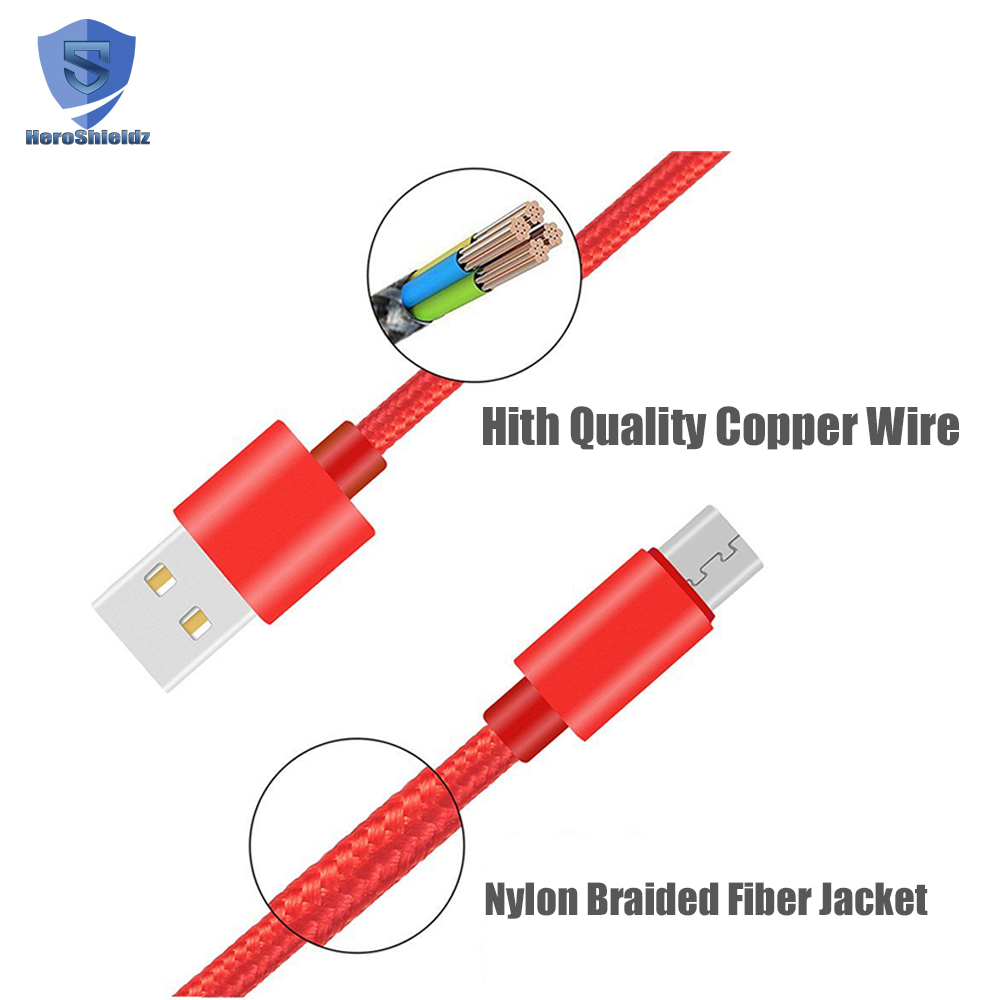 Dong guan micro usb cable,6.6FT nylon braided 2.1A data and charging cable for android fast charger-red