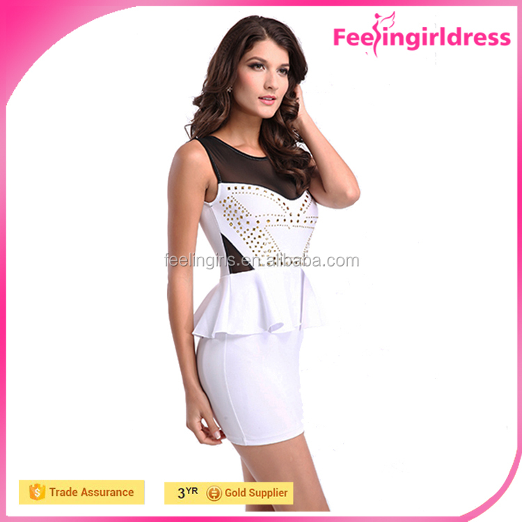 Paypal accepted white peplum bodycon latest formal dress patterns