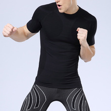 Wholesales custom private label short sleeve sports top seamless dry fit sports mens compression gym wear