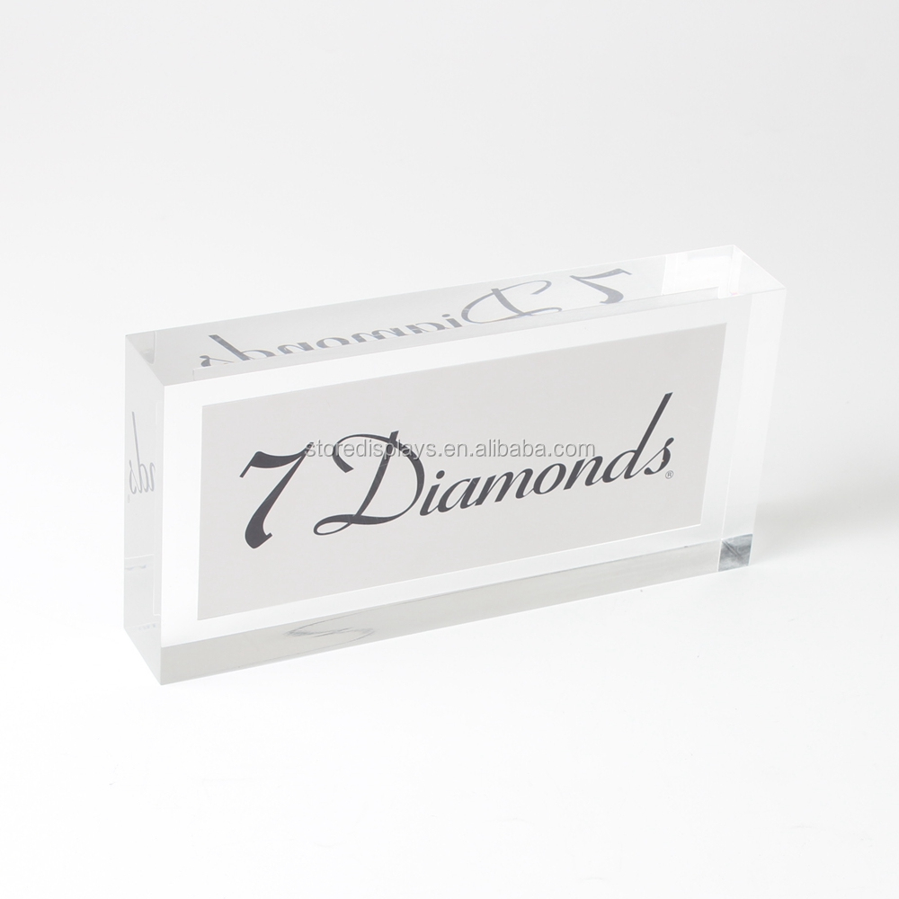 Clear Acrylic Crystal Glass Block, Custom Logo Acrylic Paperweight, Acrylic Logoinside Block