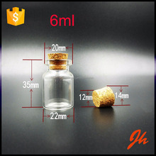 Good quality 6ml clear/transparent small corked glass bottle with cork top