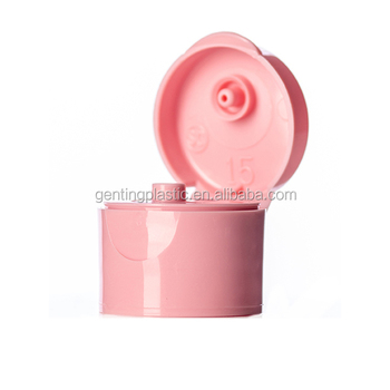 Pink PP 20-410 smooth skirt hinged flip top snap cap dispensing cap