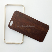 metal frame case for mobile, wood back case for iphone, case for smartphone