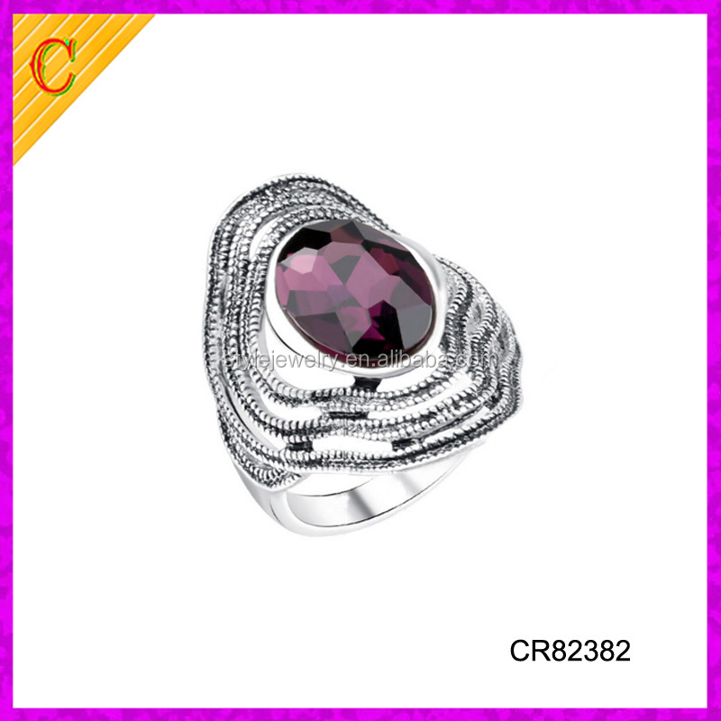 CR82382 fashion crystal handmade ring moroccan jewelry gemstone silver ring