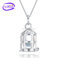 FEIRUN 8mm drop cage type fashionable cultured 925 sterling silver pearl pendant